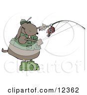 Dog In A Vest And Hat Fishing Clip Art Illustration