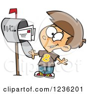 Clipart Of A Caucasian Happy Boy Mailing Letters Royalty Free Vector Illustration by Ron Leishman