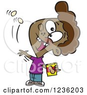 Clipart Of A Black Boy Tossing Peanuts Into His Mouth Royalty Free Vector Illustration