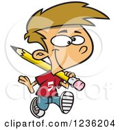 Clipart Of A Caucasian School Boy Hauling A Giant Pencil On His Shoulder Royalty Free Vector Illustration