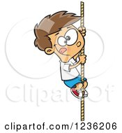 Caucasian Athletic Boy Climbing A Rope