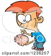 Clipart Of A Red Haired Boy Putting A Coin In His Piggy Bank Royalty Free Vector Illustration