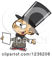 Clipart Of A Caucasian Boy Role Playing As Abraham Lincoln Royalty Free Vector Illustration by toonaday