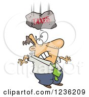 Clipart Of A Taxes Boulder Falling On A Caucasian Businessman Royalty Free Vector Illustration