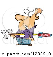 Clipart Of A Tax Rocket Shooting Through A Caucasian Mans Torso Royalty Free Vector Illustration by Ron Leishman