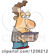 Clipart Of A Caucasian Man Carrying A Collection Of Rocks In A Box Royalty Free Vector Illustration by toonaday
