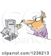Clipart Of A Caucasian Man Removing A Bug From His Computer Royalty Free Vector Illustration