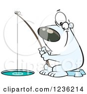 Clipart Of A Happy Polar Bear Ice Fishing Royalty Free Vector Illustration