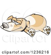 Clipart Of An Exhausted Happy Dog Sprawled Out Royalty Free Vector Illustration