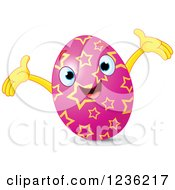 Clipart Of A Happy Pink Easter Egg With Yellow Stars Royalty Free Vector Illustration