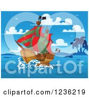 Clipart Of A Sailing Pirate Ship And Islands On A Blue Day Royalty Free Vector Illustration by Pushkin