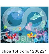 Clipart Of Sea Creatures Gathered On The Ocean Floor Royalty Free Vector Illustration by Pushkin