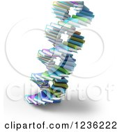 Clipart Of 3d Books Forming A DNA Spiral 2 Royalty Free CGI Illustration