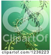Clipart Of A 3d DNA Double Helix Vine Over Green Royalty Free CGI Illustration