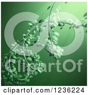 Clipart Of A 3d DNA Double Helix Vine Over Green 2 Royalty Free CGI Illustration