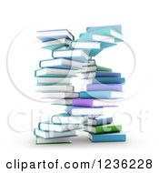 Clipart Of 3d Books Forming A DNA Spiral Royalty Free CGI Illustration