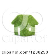 3d Grassy House Over White