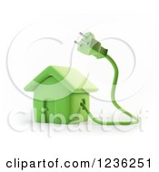 3d Green House With An Electric Plug
