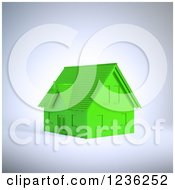 Clipart Of A 3d Green House Royalty Free CGI Illustration