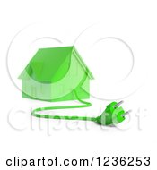 3d Green House With An Electric Plug 2