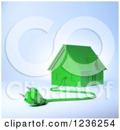 3d Green House With An Electric Plug 3