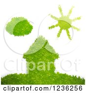 Clipart Of A 3d Ego Grass House On A Hill With A Sun And Cloud Over White Royalty Free CGI Illustration by Mopic
