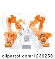 3d Assembly Line Of Robotic Arms And Cubes Over White