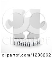 Poster, Art Print Of 3d Group Of Tiny People Looking At A Giant Puzzle Piece