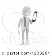 Clipart Of A 3d White Businessman Holding A Smartphone On White Royalty Free CGI Illustration by Mopic