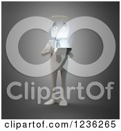 Clipart Of A 3d White Businessman Using A Smartphone Or Tablet Royalty Free CGI Illustration by Mopic