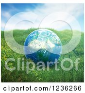 Clipart Of A 3d African Globe Over Grass Royalty Free CGI Illustration