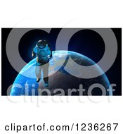 Clipart Of A 3d Astronaut Doing A Space Walk Over Earth Royalty Free CGI Illustration