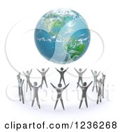 Clipart Of A 3d Earth Hovering Over A Circle Of People Royalty Free CGI Illustration