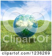 Clipart Of A 3d African Globe Floating Over Grass Royalty Free CGI Illustration
