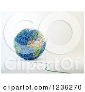 Clipart Of A 3d Ball Of Wool Yarn Forming Earth Royalty Free CGI Illustration by Mopic