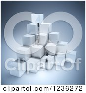 Clipart Of 3d Businessmen Climbing Ladders On Stacked Cubes Royalty Free CGI Illustration