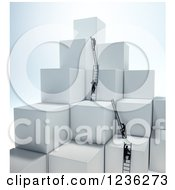 3d Businessmen Climbing Ladders On Stacked Cubes 2