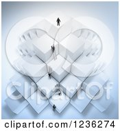 Clipart Of A 3d Businessmen Climbing Ladders On Stacked Cubes 3 Royalty Free CGI Illustration