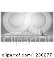 Clipart Of A 3d Businessman Struggling To Hold Up Collapsing Dominos Royalty Free CGI Illustration by Mopic