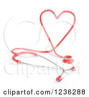 3d Red Heart Shaped Medical Cardiology Stethoschope