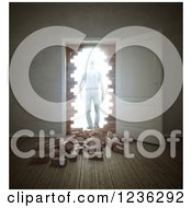 Clipart Of A 3d Man Walking Through An Open Door And Broken Down Brick Wall Royalty Free CGI Illustration