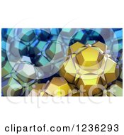 Clipart Of 3d Abstract Shapes In Gold And Blue Royalty Free CGI Illustration