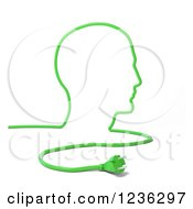 Clipart Of A 3d Green Cable And Plug Forming A Mans Head Royalty Free CGI Illustration