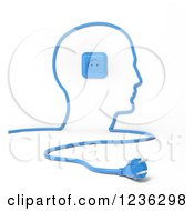 Clipart Of A 3d Blue Cable Socket And Plug Forming A Mans Head Royalty Free CGI Illustration