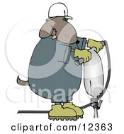 Construction Worker Dog In A Hardhat Using A Jack Hammer Clip Art Illustration