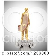 Clipart Of A 3d Gold Businessman Statue On A Pedestal Royalty Free CGI Illustration by Mopic