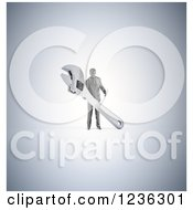 Clipart Of A 3d Business Or Handy Man Holding An Adjustable Wrench Royalty Free CGI Illustration