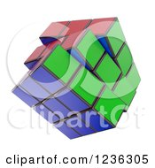Clipart Of A 3d Rubiks Cube Over White Royalty Free CGI Illustration