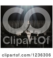 Clipart Of A Light Lifting A 3d Man From A Circle In A Crowd Royalty Free CGI Illustration