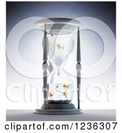 3d Hourglass With Goldfish Inside